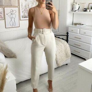 Zara Cream High waisted trousers Sz Small